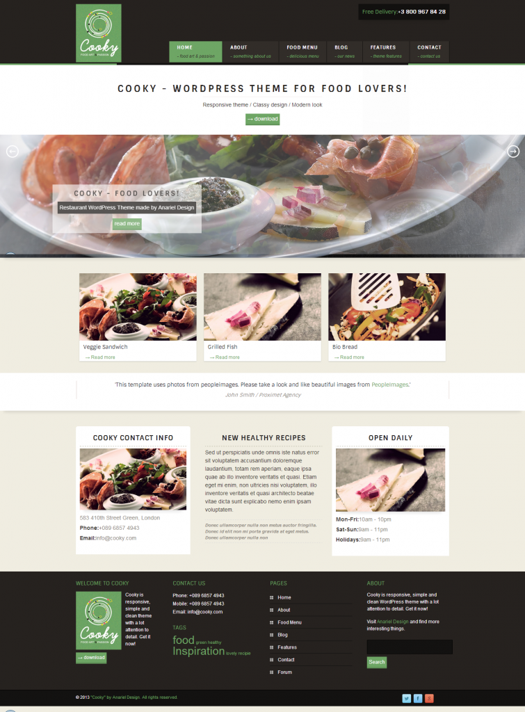 Cooky: Restaurant Responsive WordPress Theme