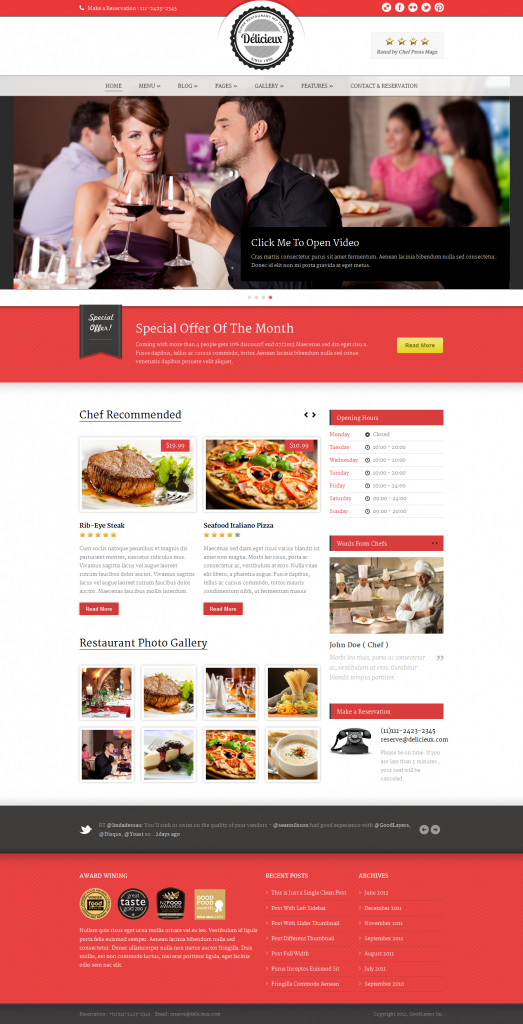 Delicieux: Restaurant WordPress Theme