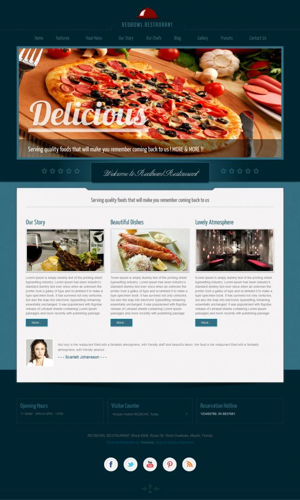 RedBowl: Restaurant Responsive Joomla Template