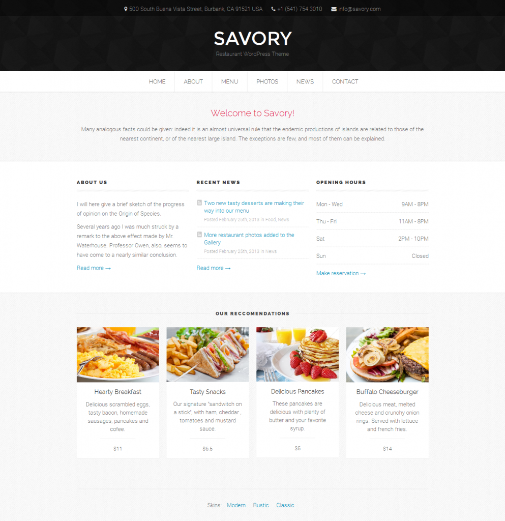 Savory: Responsive Restaurant WordPress Theme