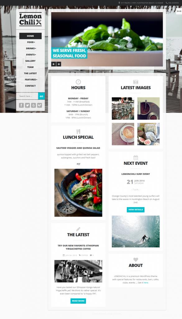 LemonChili: a Premium Restaurant WordPress Theme