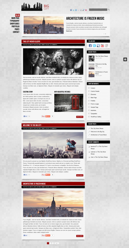 Big City: Personal and Blog WordPress theme