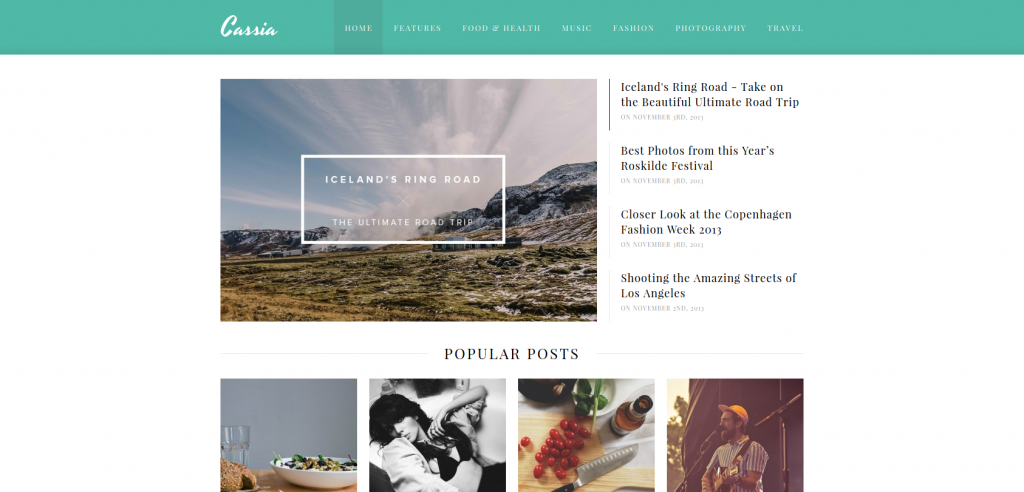 Cassia: A Responsive WordPress Blog Theme