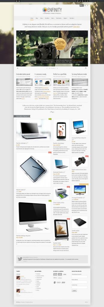 Enfinity: Adaptive WooCommerce Portfolio WP theme