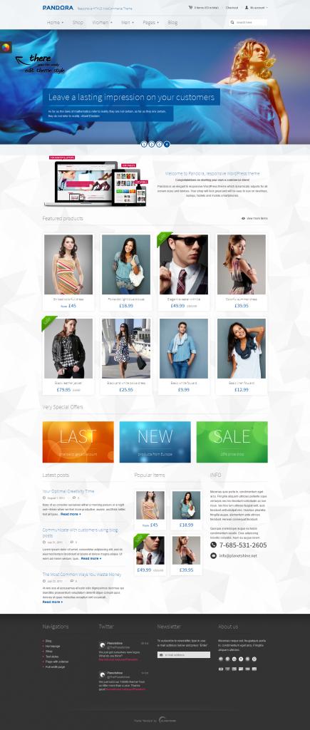 Pandora: Responsive WooCommerce HTML5 Theme