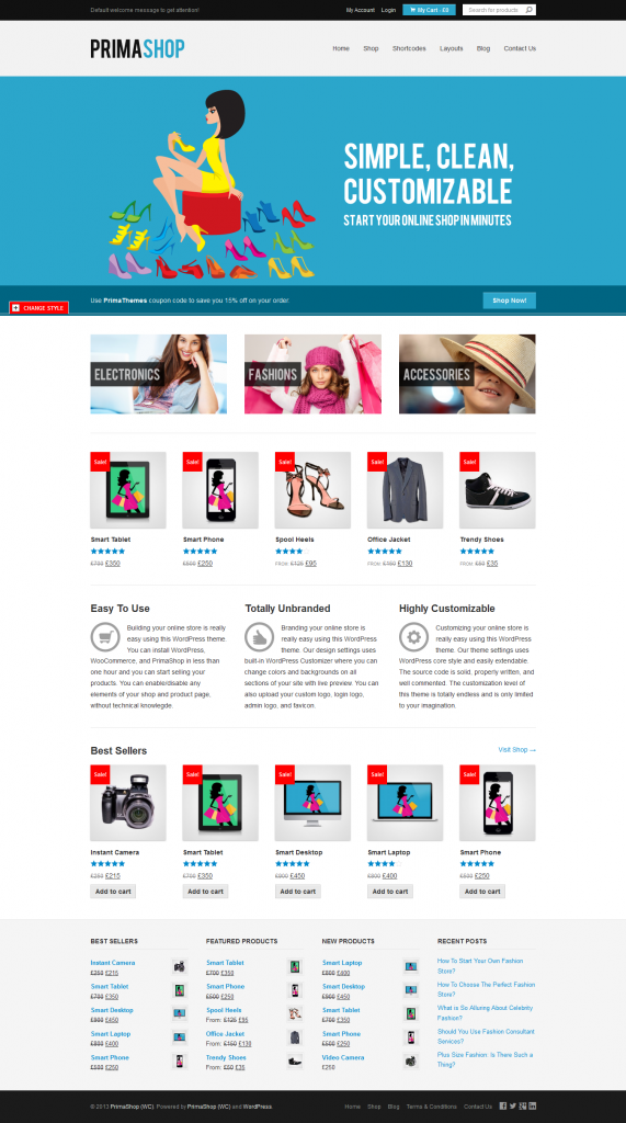 PrimaShop: Clean WordPress WooCommerce Theme