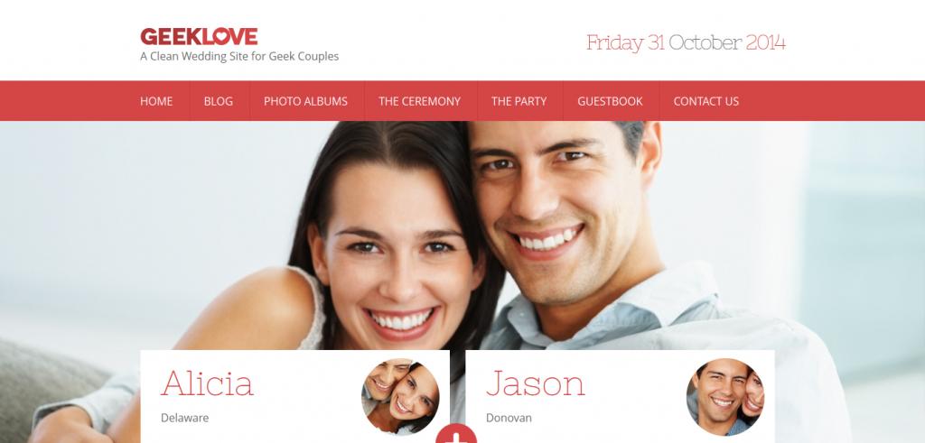 GeekLove: A Responsive WordPress Wedding Theme
