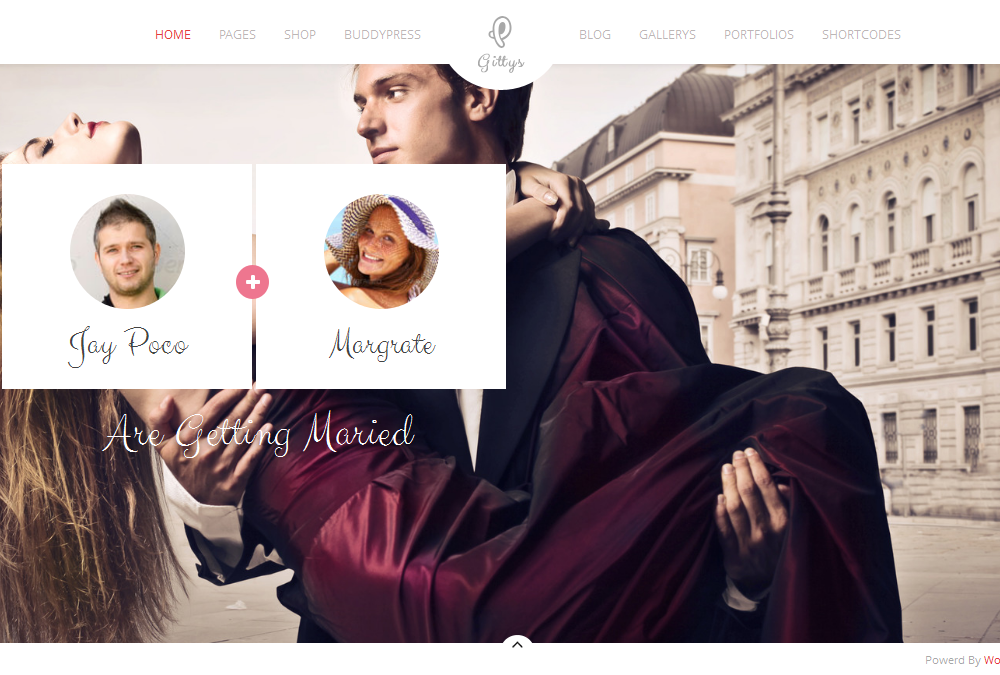 Gittys: Responsive Wedding Wordpress Theme