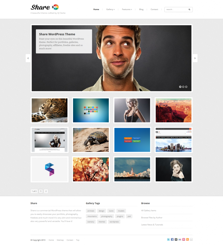 Share: Gallery, Photos, Freebies WordPress Theme