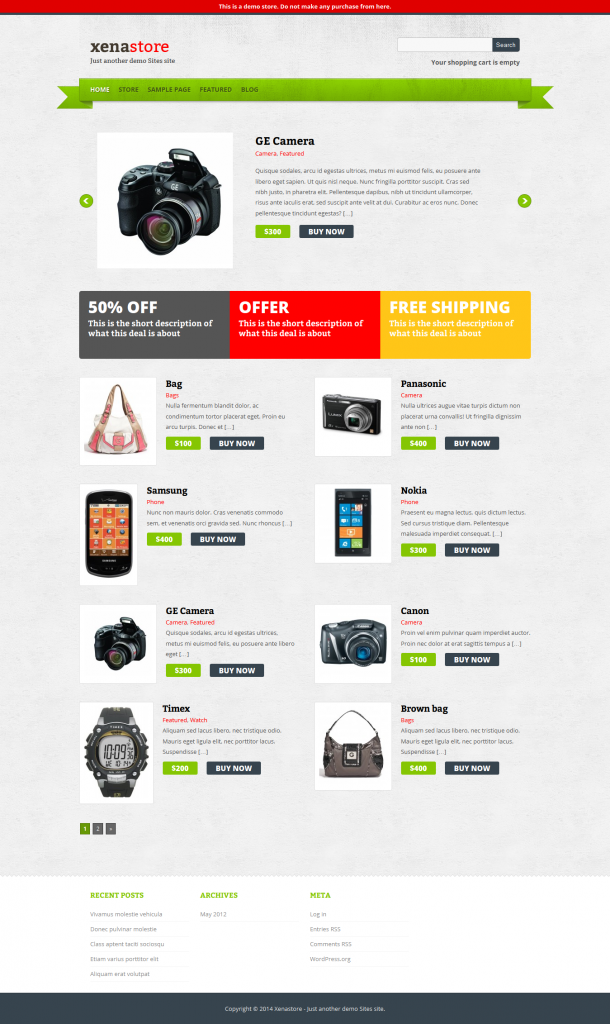 Xenastore: Free eCommerce WordPress Theme